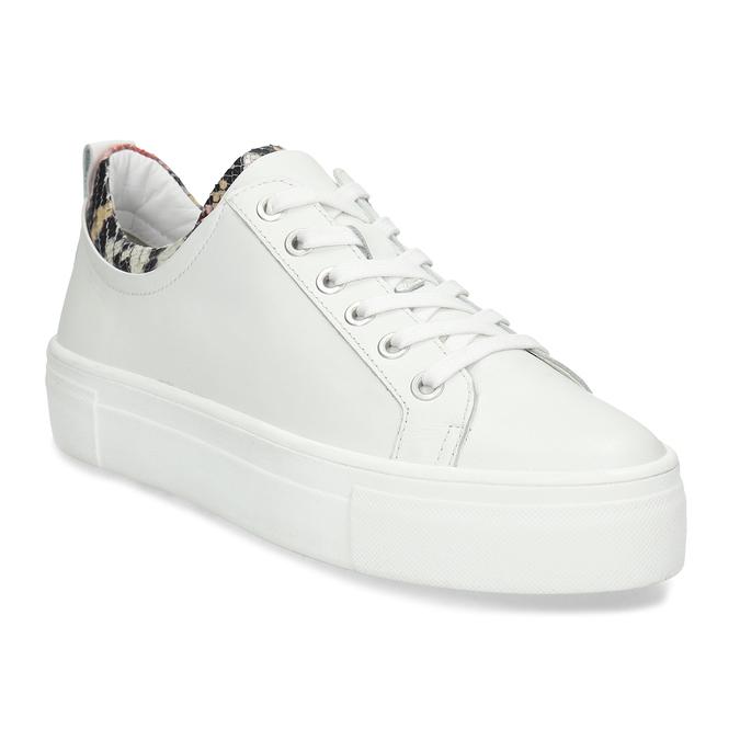 Bílé dámské kožené tenisky s hadí texturou bata, bílá, 544-5601 - 13