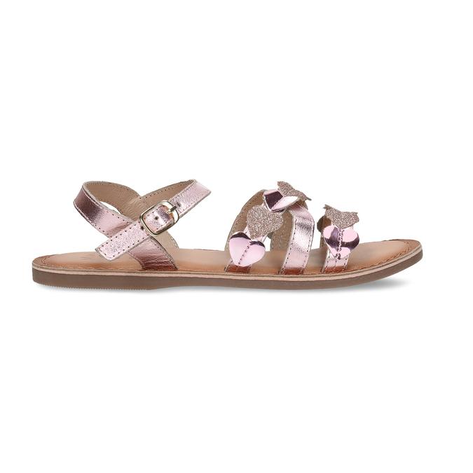 Růžové dětské kožené sandály se srdíčky mini-b, růžová, 466-8620 - 19