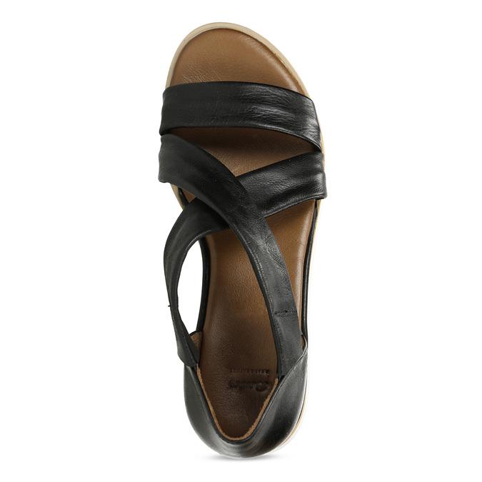 Dámské kožené sandály na silnější podešvi v černé barvě bata, černá, 664-6616 - 17