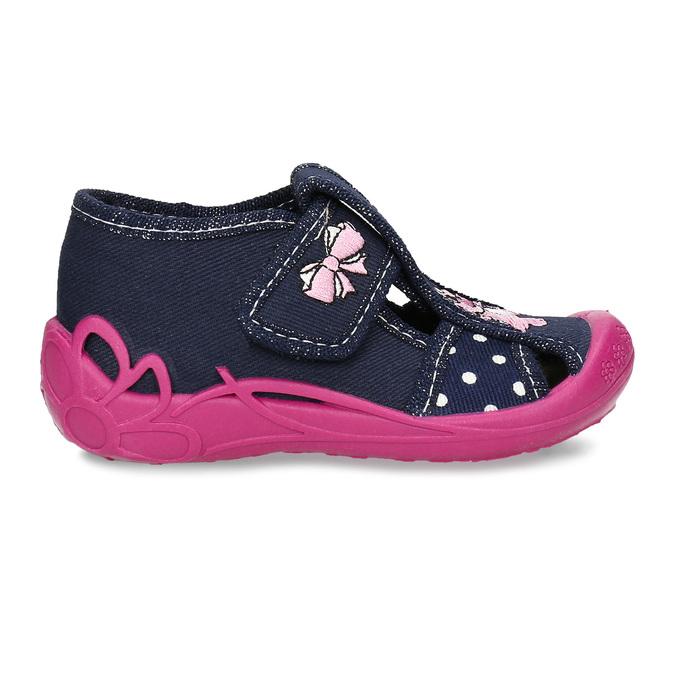 Dívčí papučky s růžovou podešví mini-b, modrá, 179-9605 - 19