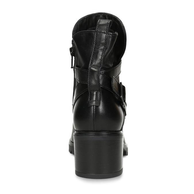Černá dámská kožená kotníková obuv s pásky bata, černá, 694-6629 - 15
