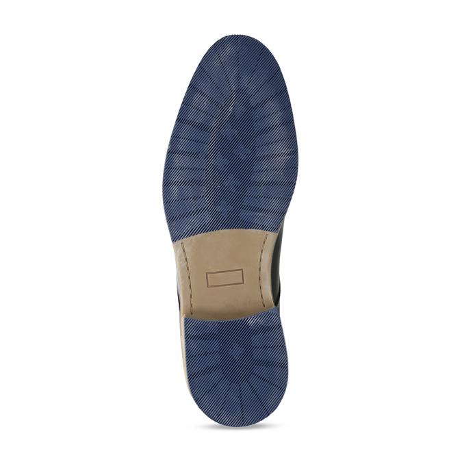 Tmavě modré kožené pánské polobotky s prošitím bata, modrá, 826-9711 - 18