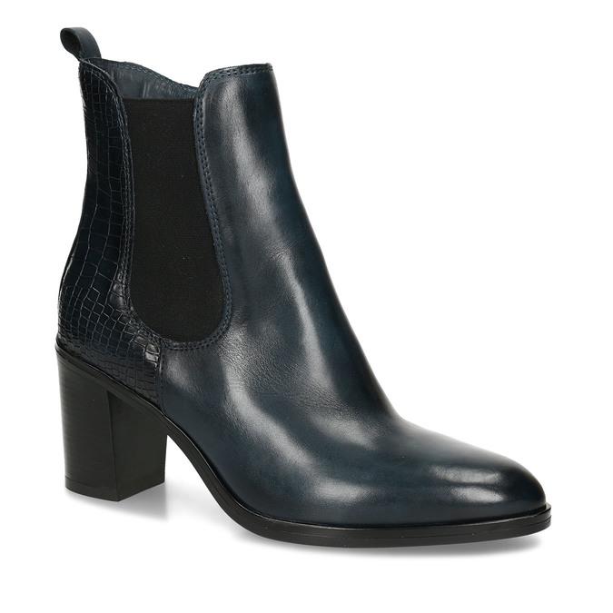 Dámská obuv v Chelsea stylu na podpatku v modré kůži bata, modrá, 794-9601 - 13