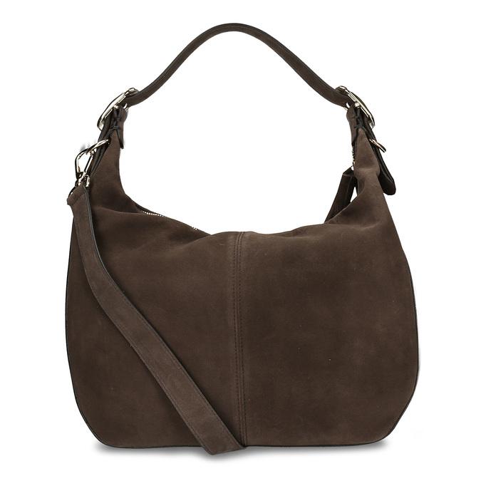 Tmavěhnědá kožená kabelka s třásní hogl, hnědá, 963-4601 - 16