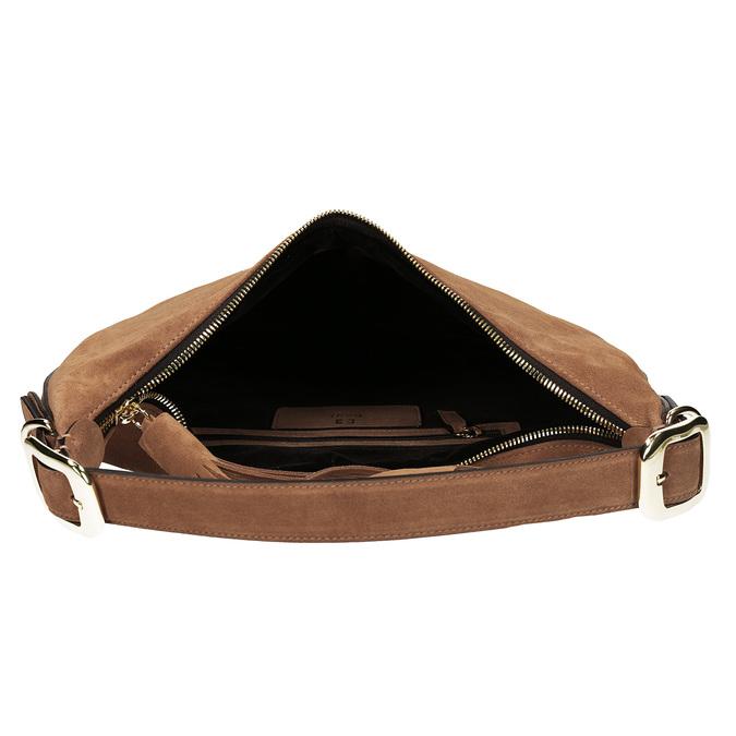 Světlehnědá kožená kabelka s třásní hogl, béžová, 963-3601 - 15