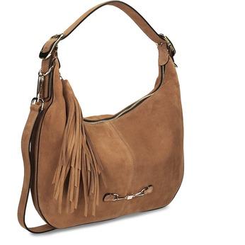 Světlehnědá kožená kabelka s třásní hogl, béžová, 963-3601 - 13