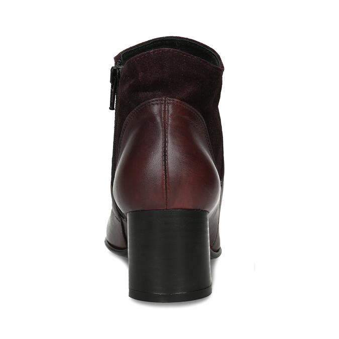 Vínová kožená dámská kotníková obuv s řasením na nártu bata, červená, 696-5612 - 15