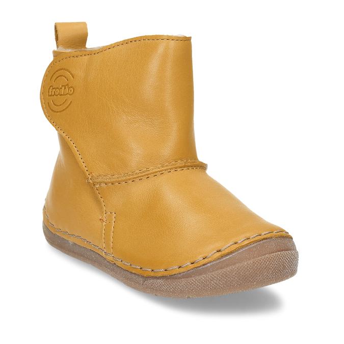 Žluté kožená dětská kotníková obuv s kožíškem froddo, žlutá, 194-8616 - 13