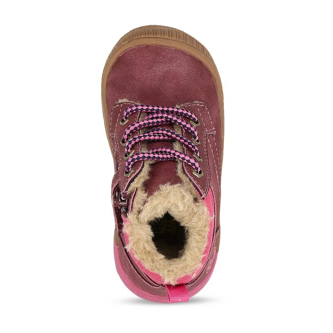 Růžová dívčí kotníková zimní obuv s kožíškem bubblegummers, fialová, 191-9604 - 17