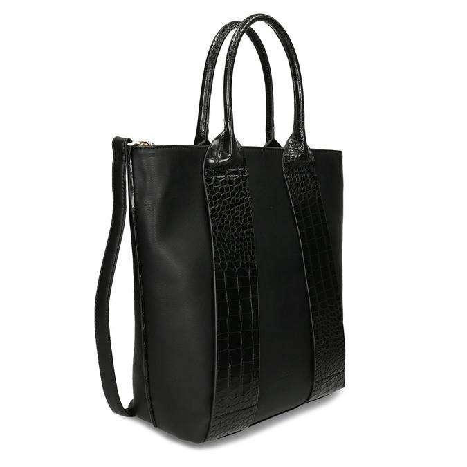 Vyšší koženková kabelka s hadími pruhy gabor, černá, 961-6848 - 13