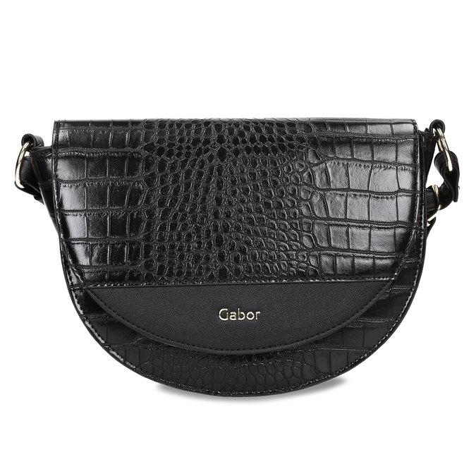 Lesklá půlkulatá kabelka s hadí texturou gabor, černá, 961-6845 - 26