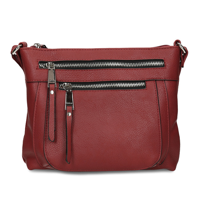 Dámská terakotová kabelka se dvěma zipy gabor, červená, 961-5805 - 26