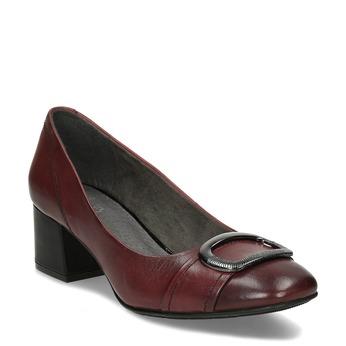 Vínové lodičky z kůže s výraznou přezkou bata, červená, 624-5628 - 13