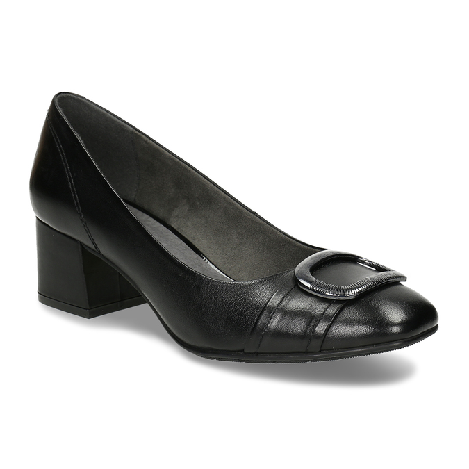 Černé kožené lodičky s výraznou přezkou na špičce bata, černá, 624-6628 - 13