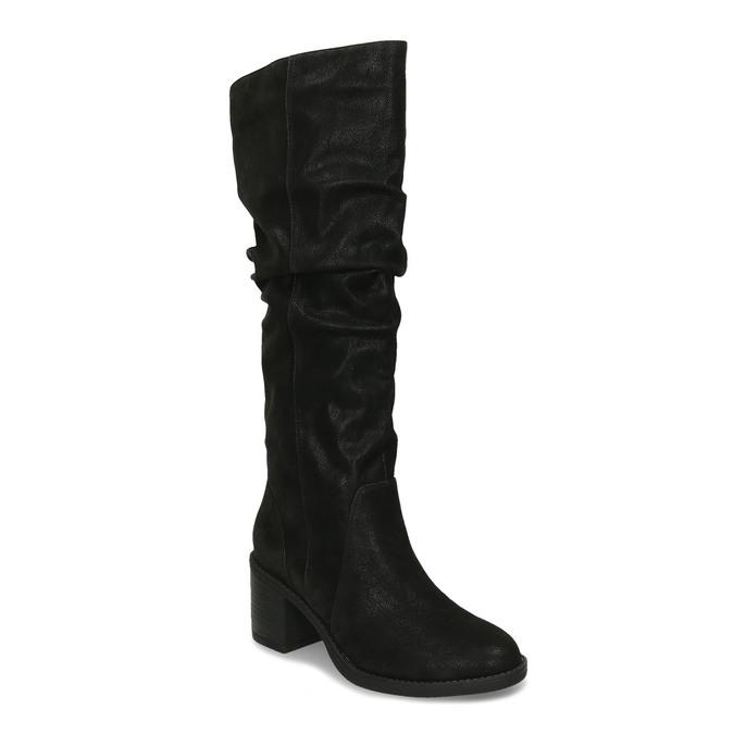 Černé dámské kozačky na podpatku bata, černá, 691-6610 - 13