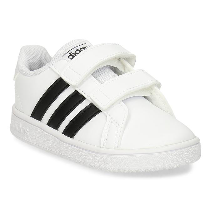 Černobílé dětské tenisky na suchý zip adidas, bílá, 101-1287 - 13