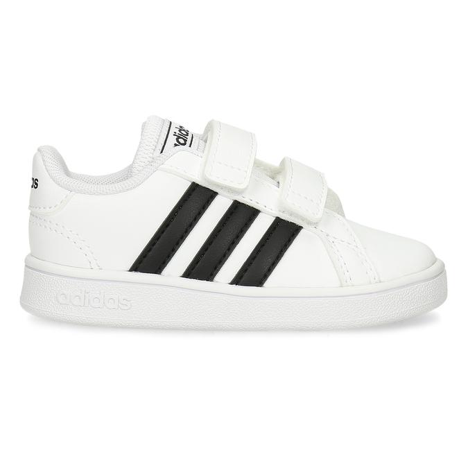 Černobílé dětské tenisky na suchý zip adidas, bílá, 101-1287 - 19