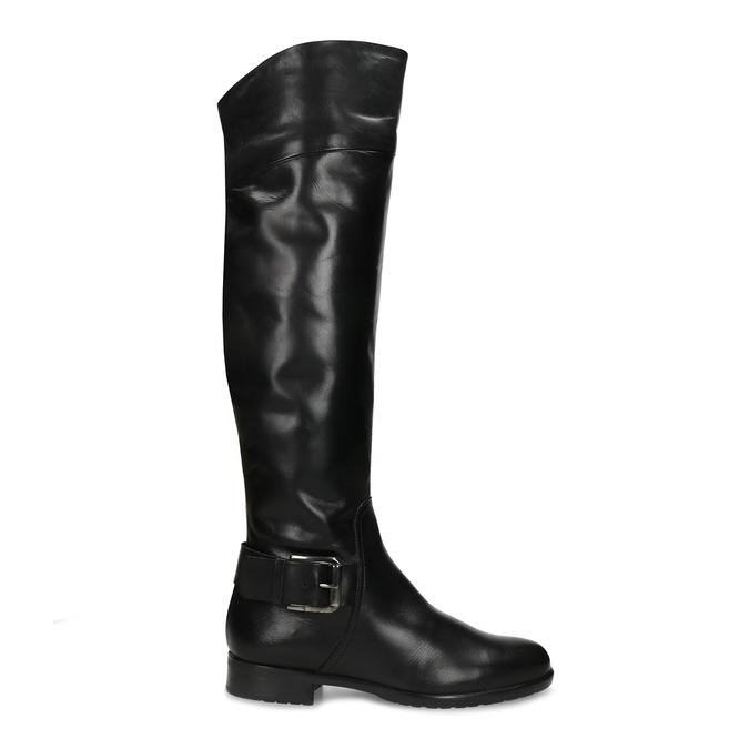 Černé kožené kozačky s přezkou bata, černá, 594-6698 - 19