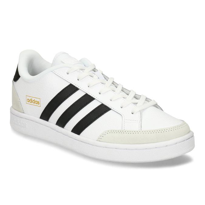 Bílé pánské tenisky s černými pruhy adidas, bílá, 801-1292 - 13