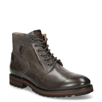 Pánská zimní kotníková obuv v tmavě hnědé kůži bata, šedá, 896-2615 - 13