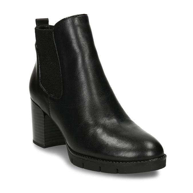 Dámská kožená obuv ve stylu Chelsea Boots se stabilním podpatkem flexible, černá, 794-6631 - 13