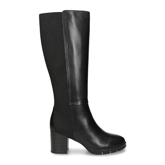Černé dámské kožené kozačky flexible, černá, 794-6633 - 19