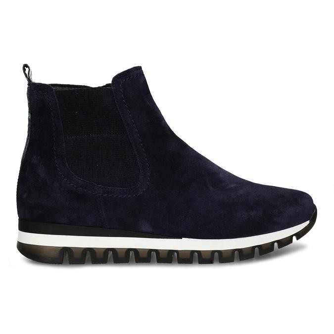 Tmavě modrá kožená dámská kotníková obuv gabor, modrá, 593-9103 - 19