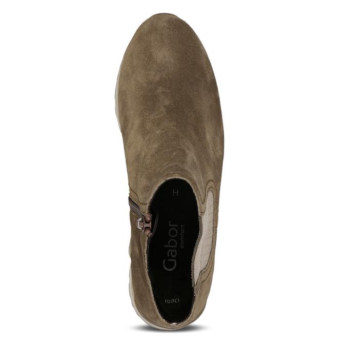 Béžová dámská kožená kotníková obuv s vyšší podešví gabor, béžová, 593-3104 - 17