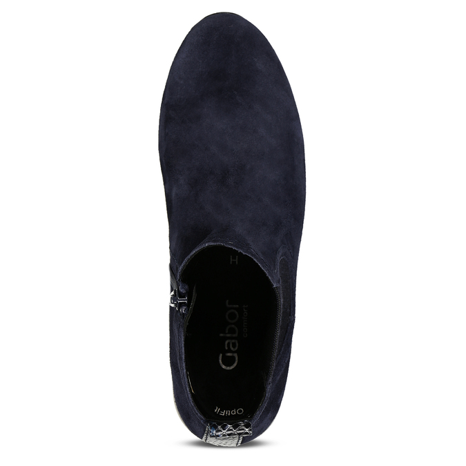 Tmavě modrá kožená dámská kotníková obuv gabor, modrá, 593-9103 - 17
