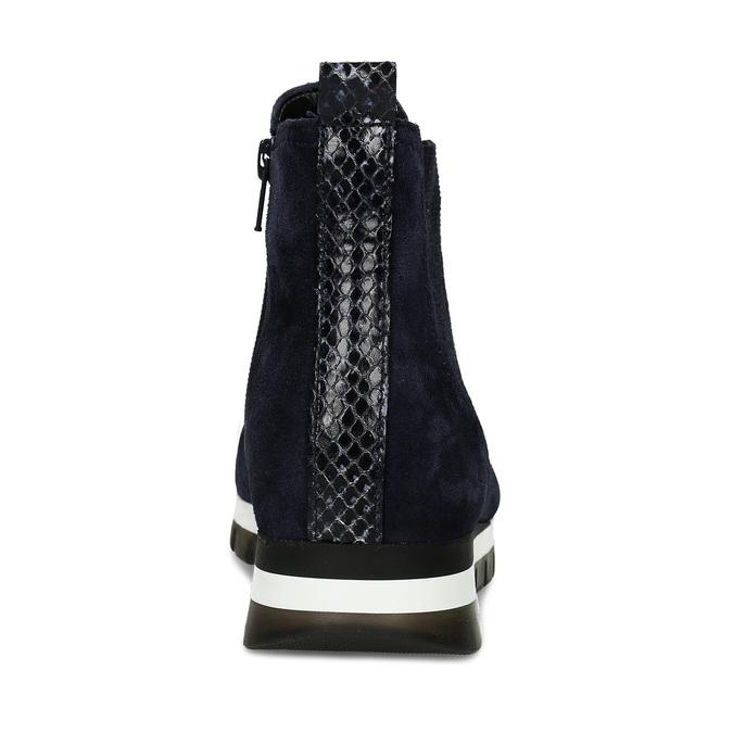 Tmavě modrá kožená dámská kotníková obuv gabor, modrá, 593-9103 - 15