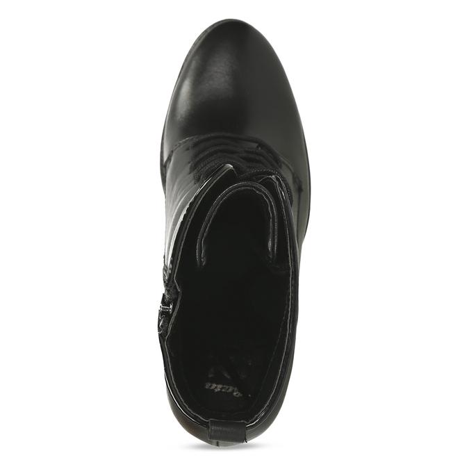 Kožená šněrovací obuv na podpatku flexible, černá, 794-6634 - 17