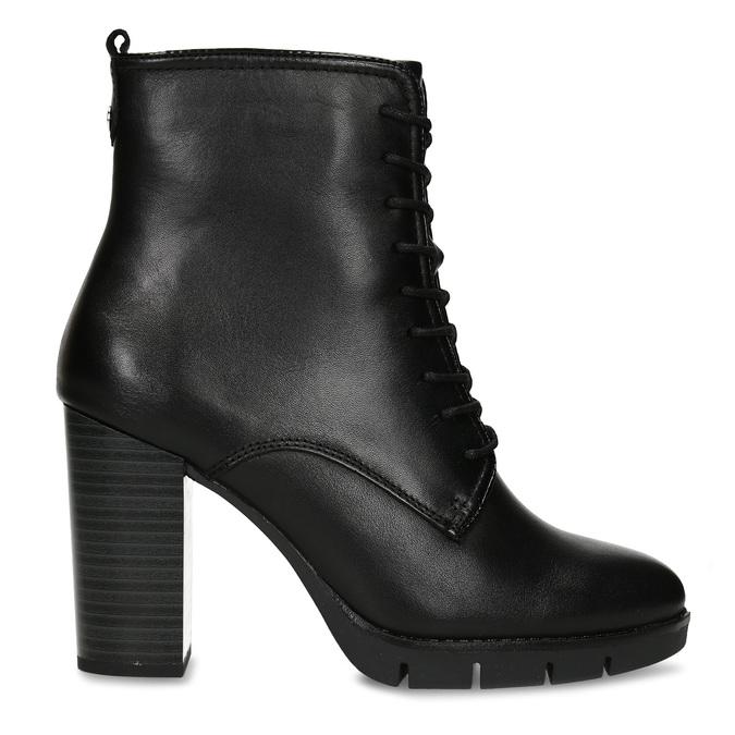 Kožená šněrovací obuv na podpatku flexible, černá, 794-6634 - 19