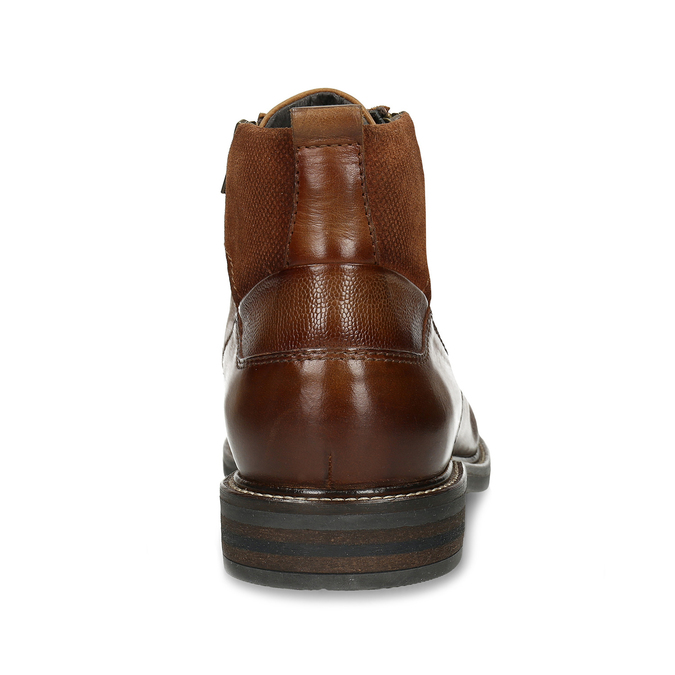 Hnědá kožená pánská obuv s prošíváním a dvěma zipy bata, hnědá, 896-3610 - 15
