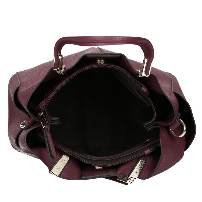 Mahagonová kabelka s kapsičkami na stranách bata, červená, 961-5610 - 15