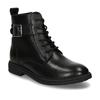 Černá kožená dívčí kotníková obuv s přezkou mini-b, černá, 424-6602 - 13