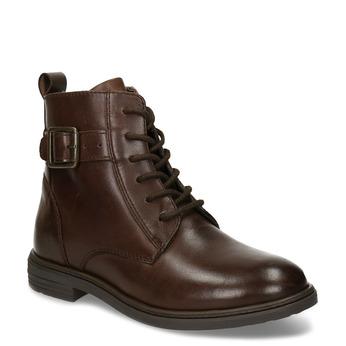 Tmavě hnědá kožená dětská kotníková obuv mini-b, hnědá, 424-4602 - 13
