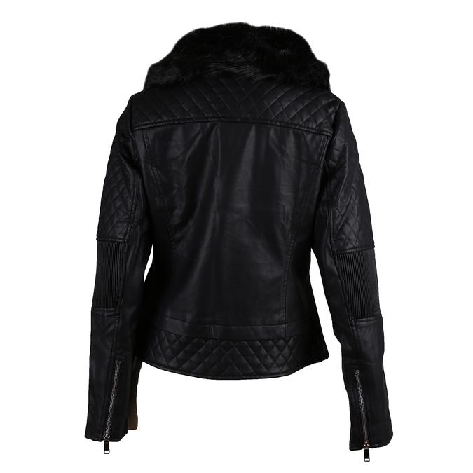 Černá dámská koženková bunda na zip s výrazným límcem bata, černá, 971-6259 - 26