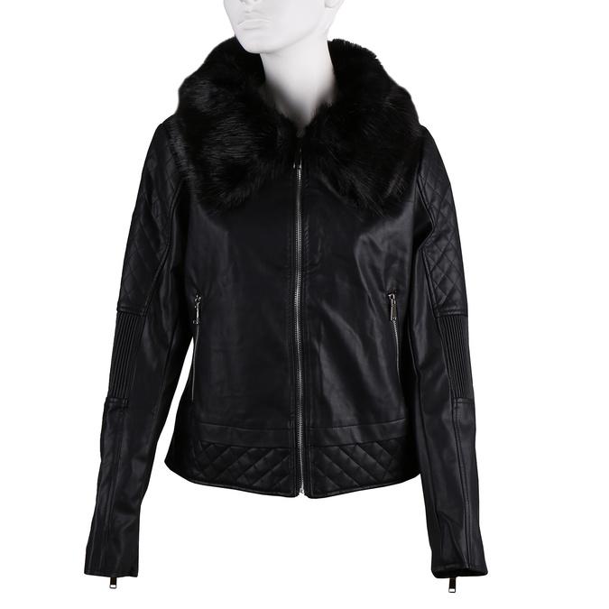 Černá dámská koženková bunda na zip s výrazným límcem bata, černá, 971-6259 - 13