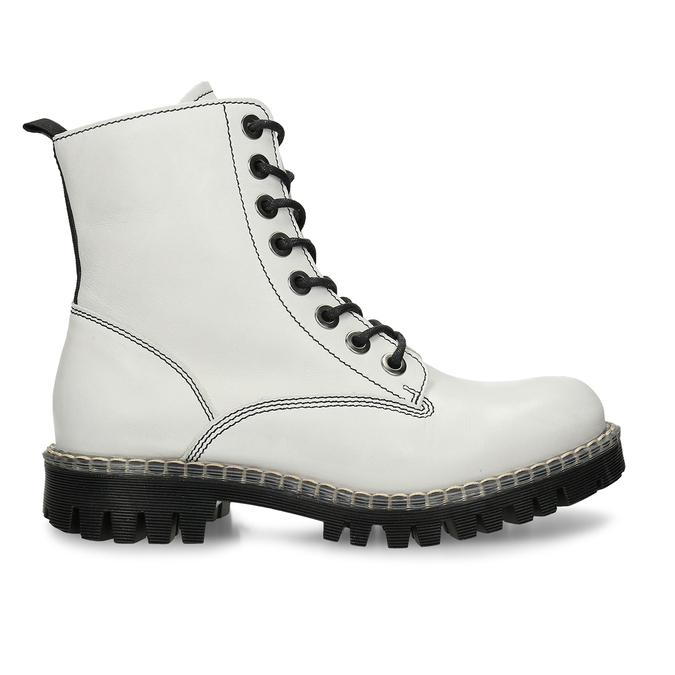 Bílá dámská kožená kotníková obuv na šněrování bata, bílá, 594-1650 - 19