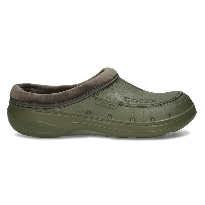 Khaki pánské pantofle se zateplením coqui, zelená, 872-7711 - 19