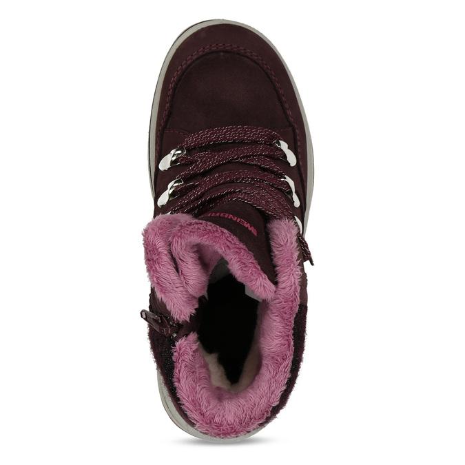 Vínová dívčí kožená kotníková zimní obuv weinbrenner, červená, 393-5610 - 17