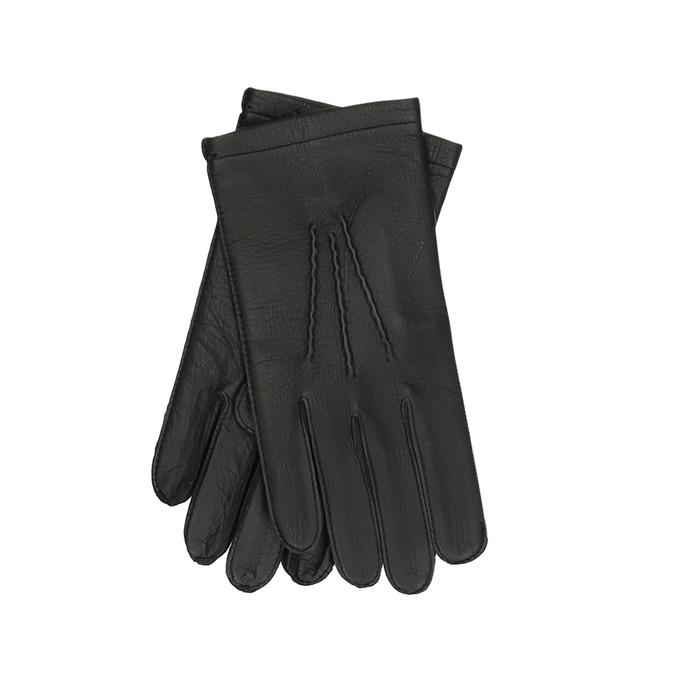 Černé dámské kožené rukavice s prošitým okrajem junek, černá, 944-6118 - 13