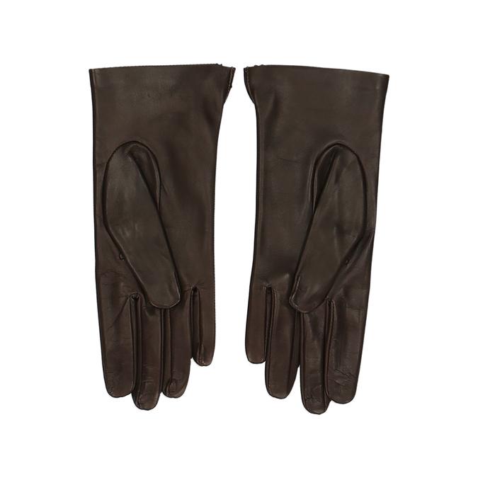 Tmavě hnědé dámské kožené rukavice junek, hnědá, 944-4212 - 16