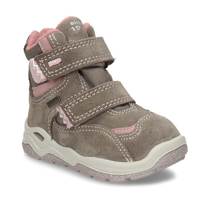 Světle hnědá dívčí kotníková obuv na suchý zip primigi, hnědá, 123-4626 - 13