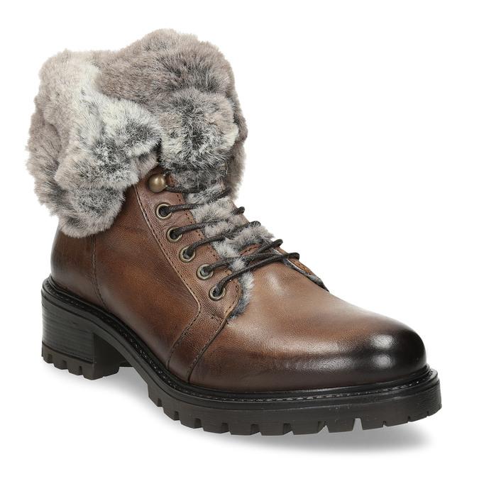 Hnědá kožená dámská kotníková obuv s kožíškem bata, hnědá, 594-4632 - 13