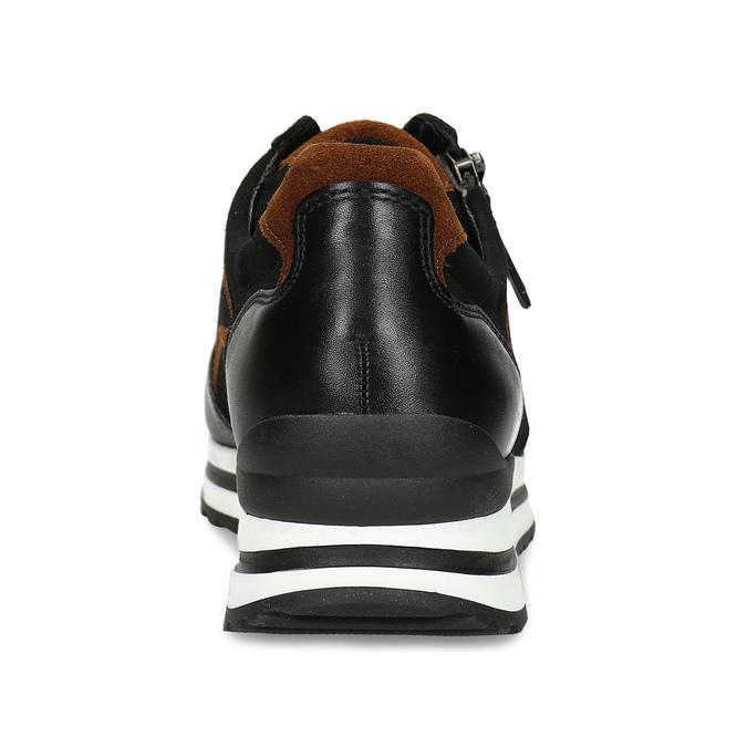 Černé dámské kožené tenisky na vysoké podešvi gabor, černá, 526-6111 - 15