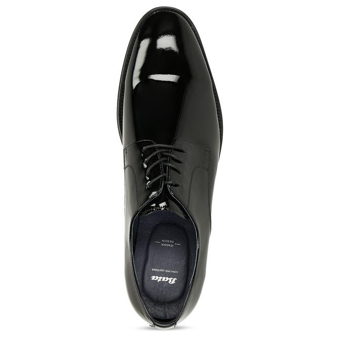 Pánské černé kožené lakované polobotky bata, černá, 828-6650 - 17