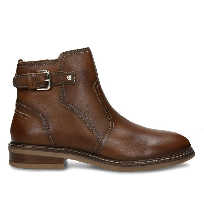 Hnědá dámská kožená kotníková obuv s přezkou pikolinos, hnědá, 596-4618 - 19