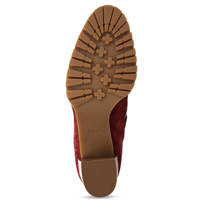 Červené dámské kožené kozačky na podpatku hogl, červená, 693-5601 - 18