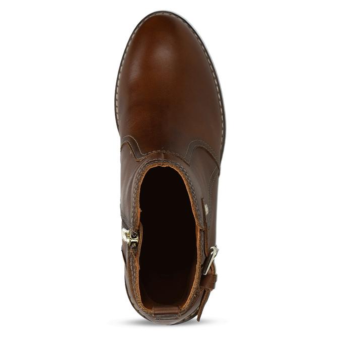 Hnědá dámská kožená kotníková obuv s přezkou pikolinos, hnědá, 596-4618 - 17